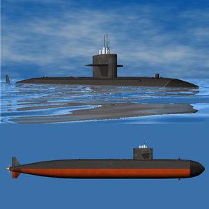 los angeles class submarine 3d model