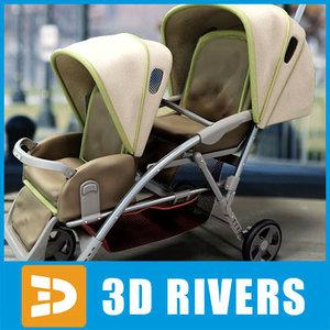 3d double stroller tandem model