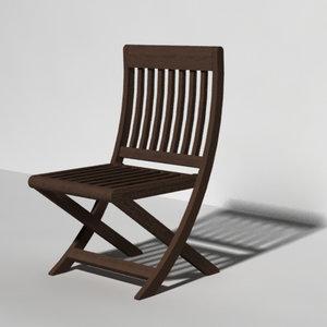 3d model outdoor teak chair