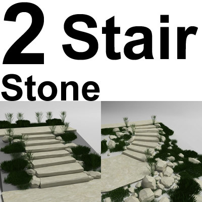 3d model natural stone stair