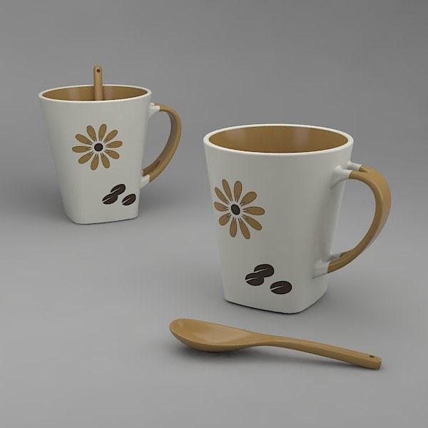 3d coffee cup spoon model