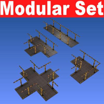 free 3ds model modular set catwalks -