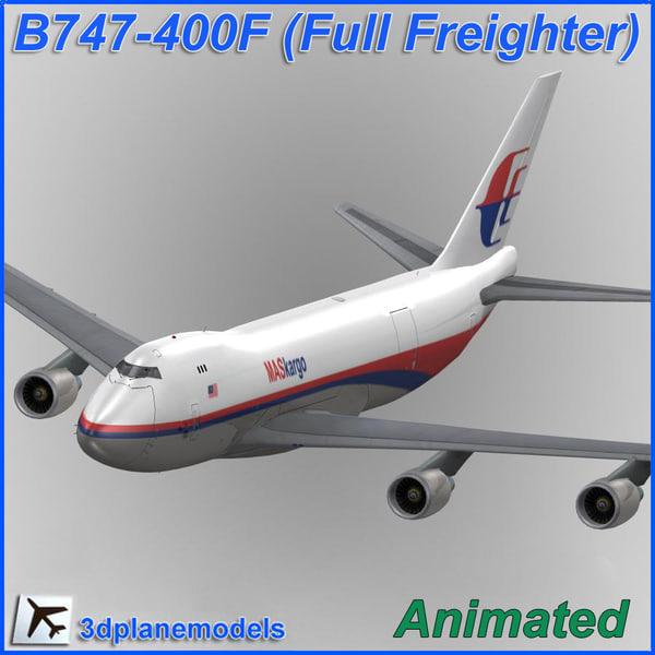 3d model b747-400 malaysia air kargo