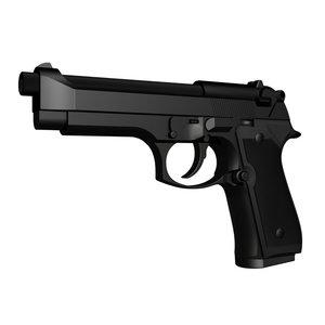 accurate beretta m9 handgun 3d ige