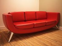 3d model retro sofa