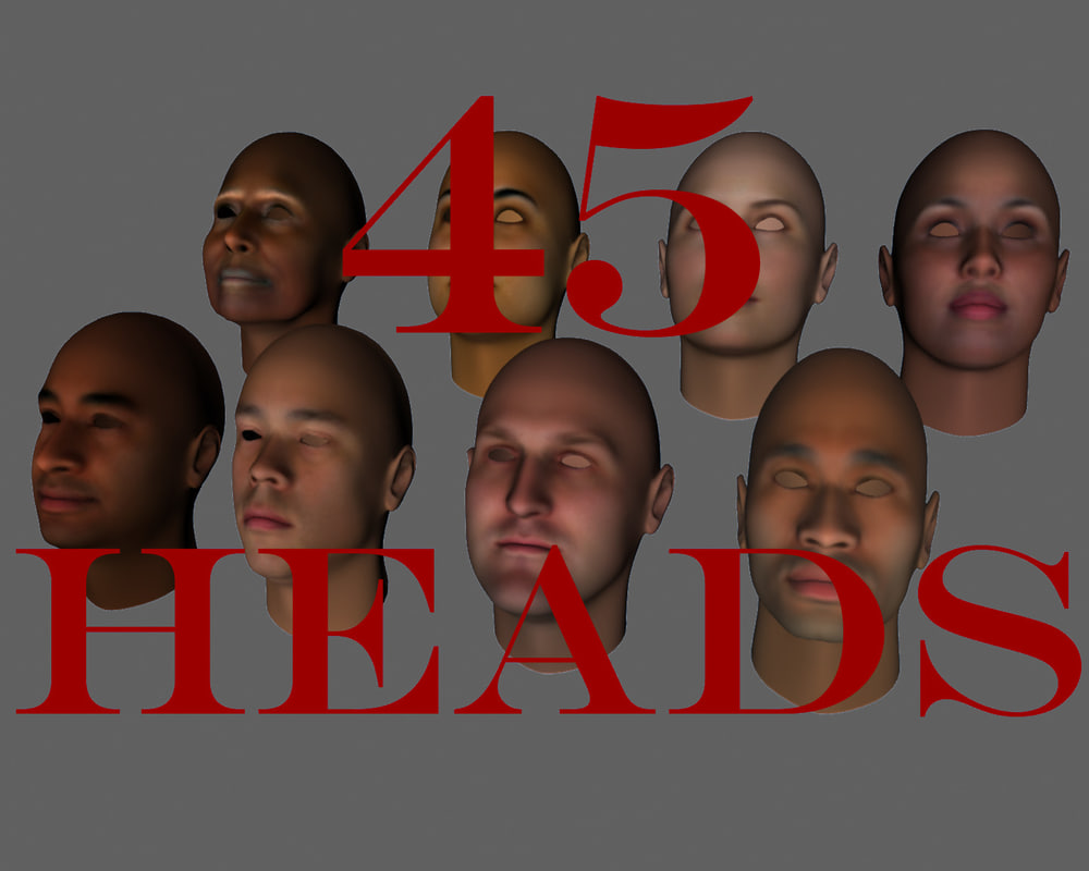 heads male female 3d model