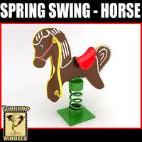 3d model spring swing - horse