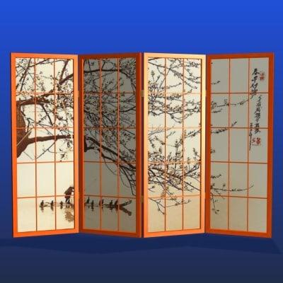 3dsmax japanese room divider