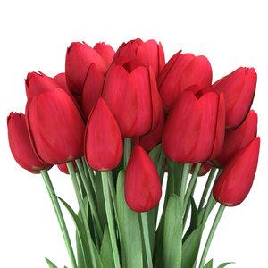 3d tulips vase piece model