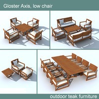 3d model gloster axis chair table