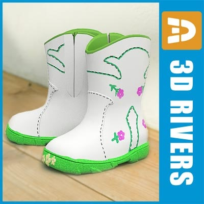 kids boots shoes 3d model