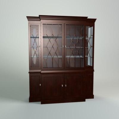 antique china cabinet obj