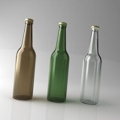 beer bottles realistic glass 3d model