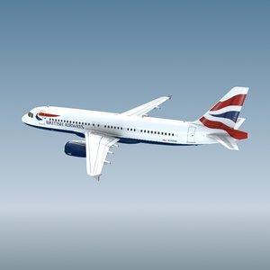 3d airbus a320 british airways