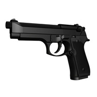 accurate beretta m9 handgun 3d model