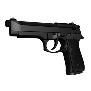 accurate beretta m9 handgun 3d model