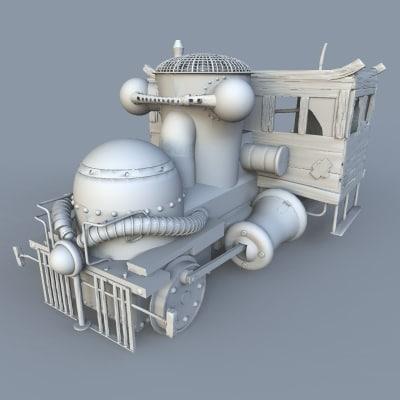 old derelict fantasy steam engine 3d model