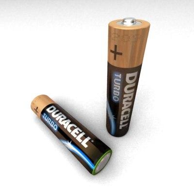 alkaline battery duracell turbo 3d model