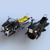 futuristic hover bikes 3d model