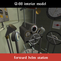 interior german submarine u-88 3d model
