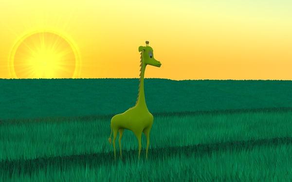 3d model cartoon giraffe mostiga spotless