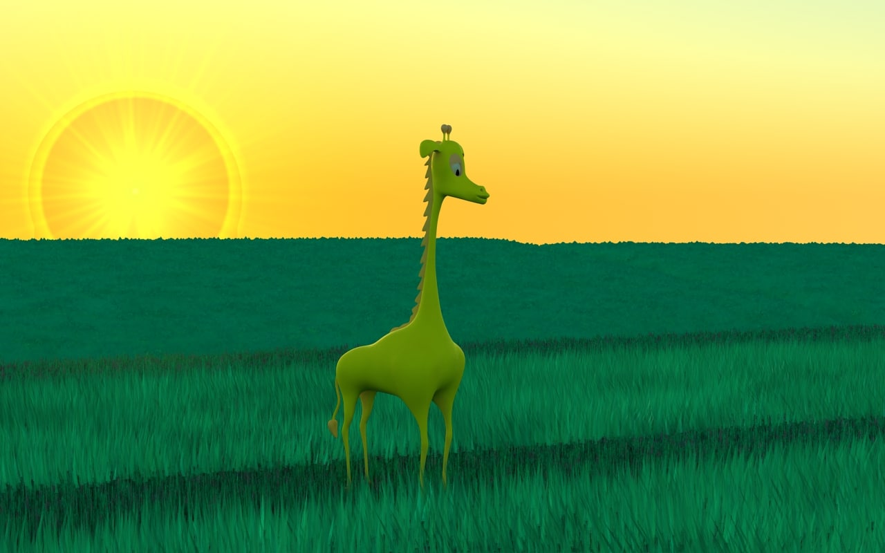 3d model cartoon giraffe mostiga spotless