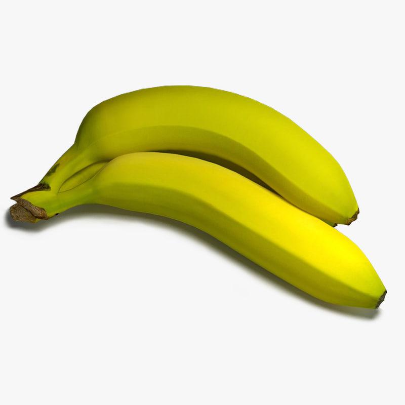 3d green bananas model
