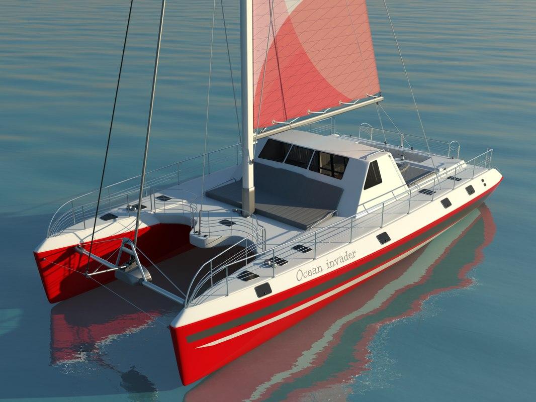 catamaran sailboat 3d model