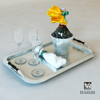 Service Silver Tray Champagne