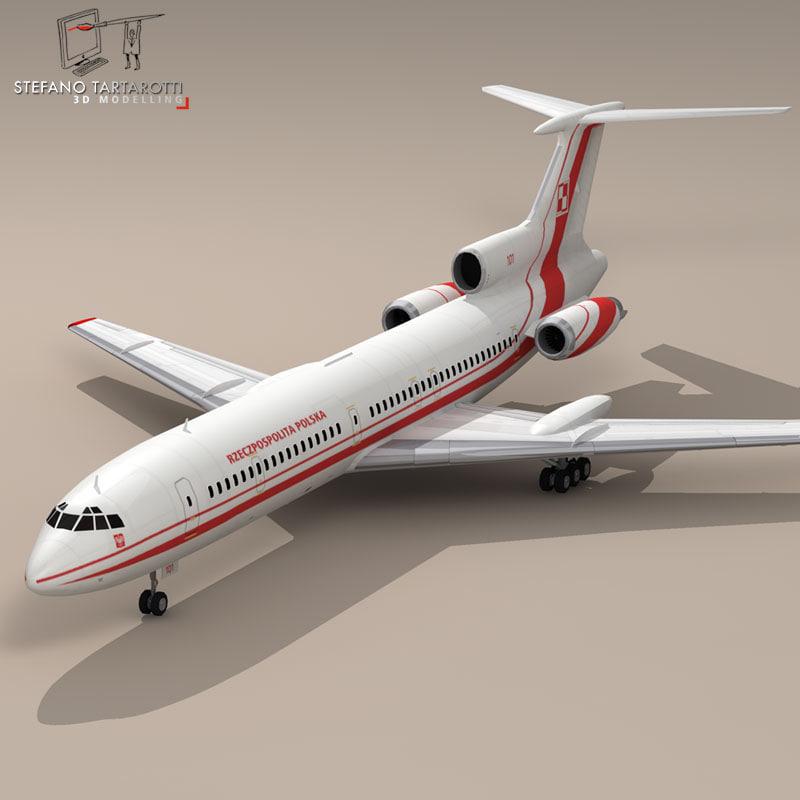 polish tu-154 airliner aircraft 3d model