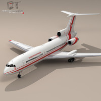 polish tu-154 airliner aircraft 3d model