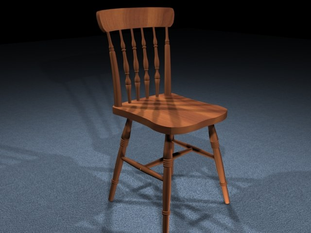 3d model of wooden chair