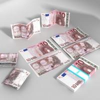 3d 10 euros banknote - model