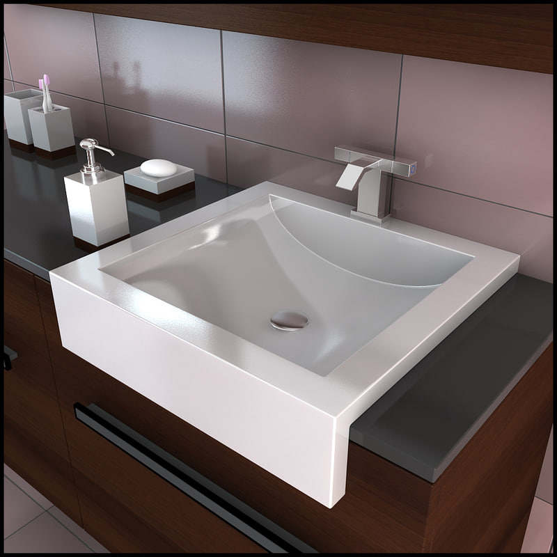 3d model bathroom furniture sink faucet