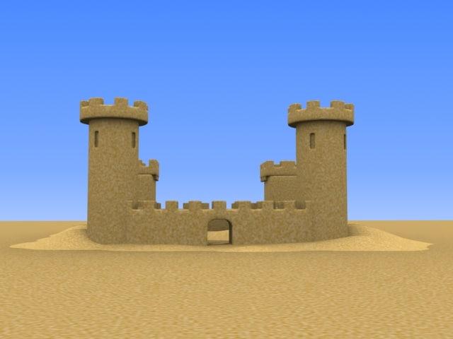 medium sand castle 3d model
