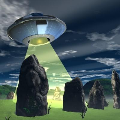 3d ancient stone circle ufo model