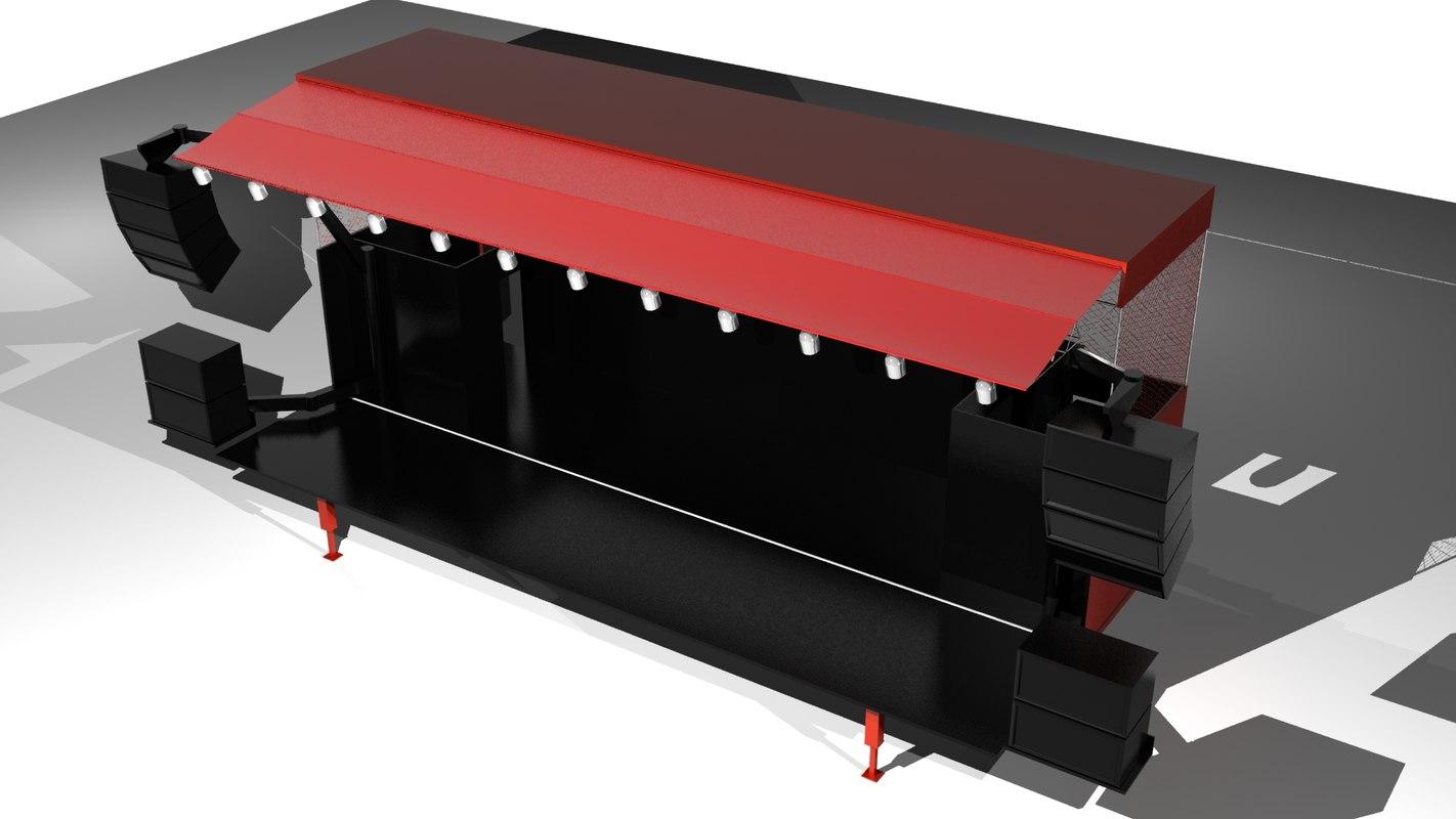 truck trailer gig rig 3d model
