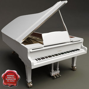 grand piano kawai white 3ds