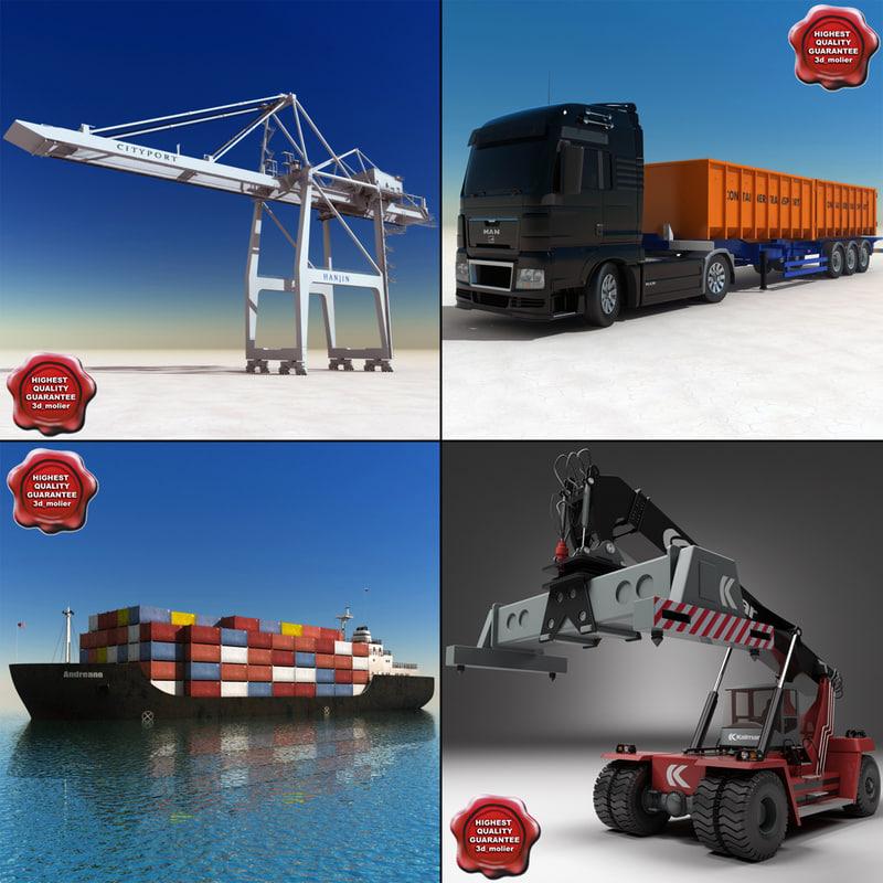 3d port set container model