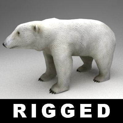 rigged polar bear 3d model