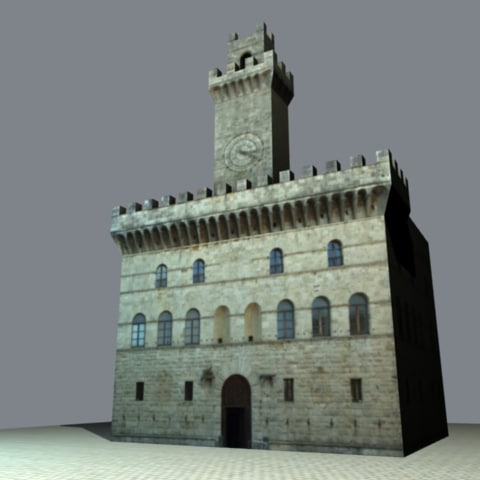 3ds max italian clock tower twilight