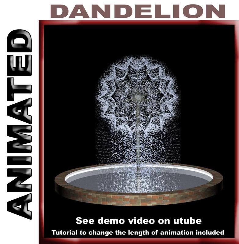 3d model fountain dandelion animation