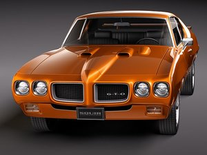 pontiac gto 1970 muscle car 3d model
