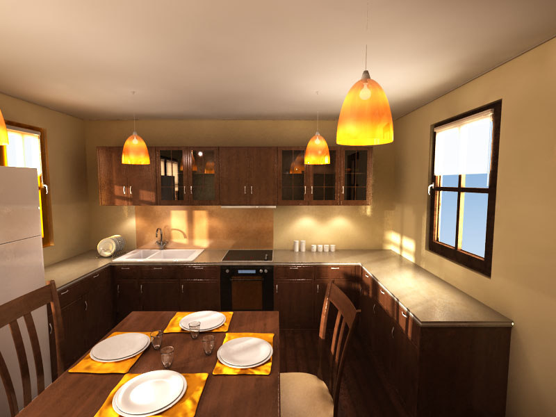 3d wooden kitchen interior model