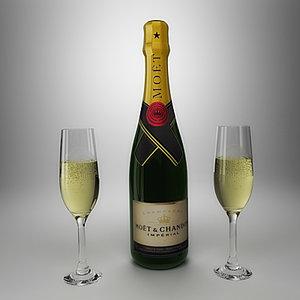 bucket champagne bottle glass ice 3d model