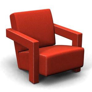 3d model utrecht 637 armchair gerrit