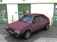 3d model of purple car