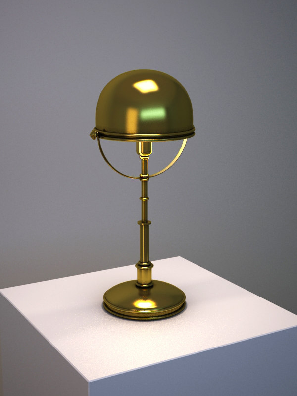 classic brass dome desk lamp 3d model