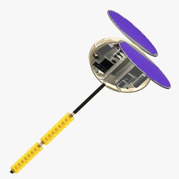 orbiting satellite 3d model