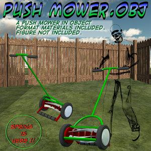3d model push mower
